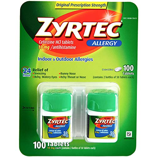 Zyrtec Cetrizine HCl/Antihistamine, 10mg, 50 Count, Pack of 2
