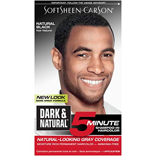 Hair Color for Men by SoftSheen Carson Dark and Natural, 5 Minutes, Natural Looking Gray Coverage for up to 6 weeks, Shampoo-in Permanent Hair Dye, Natural Black, Ammonia Free, 1 Count (Best Hair Dye For African American Men)