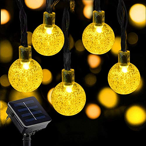 Eoyizw Solar Globe String Lights, 23ft 50 LEDs Bubble Crystal String Lights, Waterproof Fairy Solar String Bulb Lights Solar Powered Lighting for Garden, Lawn, Party, Wedding, Festivals Decorations