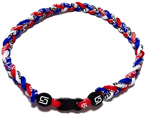 (Sport Ropes 3 Rope Titanium Necklace (Red/White/Blue, 22