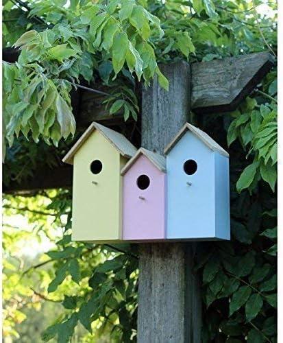 Garden Mile TRIPLE 3 in 1 Colorido Madera Jardín Pajarera Nido cajas con trasera puertas para fácil limpieza Predator Prueba Para Acomodar Pequeño Pájaros Gorrión, Herrerillo Robin Nester: Amazon.es: Jardín