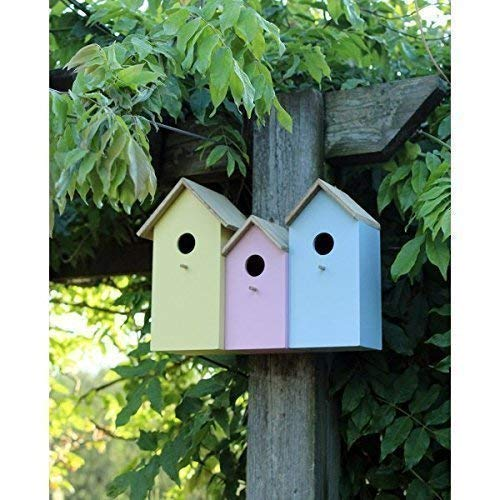 Tits Robin Nester Garden Mile/® Triple 3 In 1 Colourful Wooden Garden Birdhouse Nesting Boxes With Rear Doors For Easy Cleaning Predator Proof To Accomodate Small Birds Sparrows