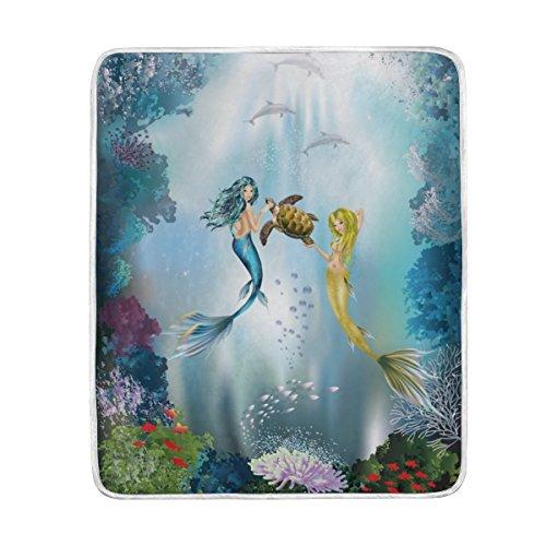 U LIFE Blue Ocean Sea Mermaid Soft Fleece Throw Blanket Blan