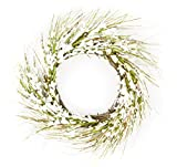 Cheap Autumn & Spring White Flowers Blossom Grapevine Door Wreath