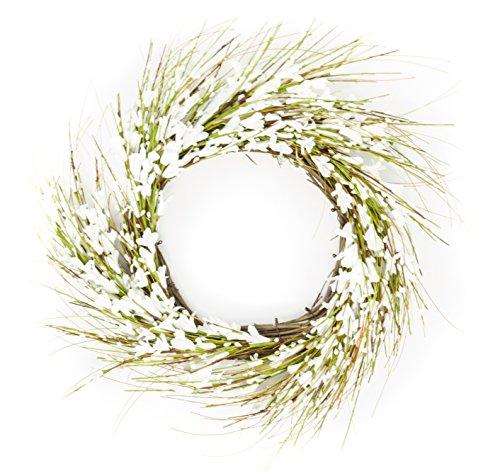 Cheap Autumn & Spring White Flowers Blossom Grapevine Door Wreath