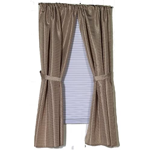 Carnation Home Fashions Lauren Dobby Fabric Bathroom Window Curtain,  34 Inch By 54 Inch, Linen
