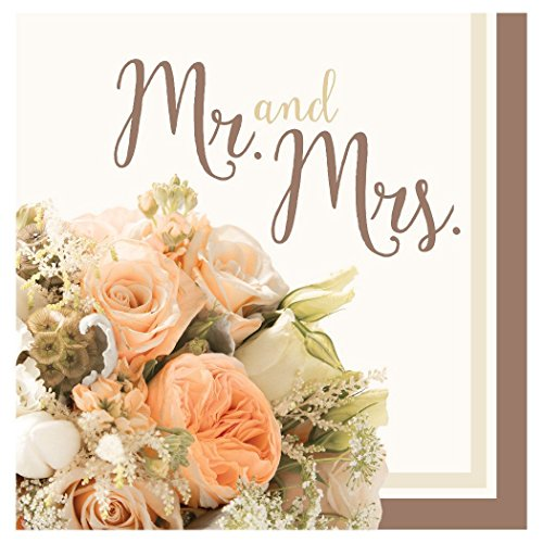 Creative Converting 318158 32 Count Mr. and Mrs. Paper Lunch Napkins, Rose Gold Bouquet