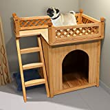 Dog Cat House Wooden Kennel Garden Puppy Outdoor Animal Hide Shelter