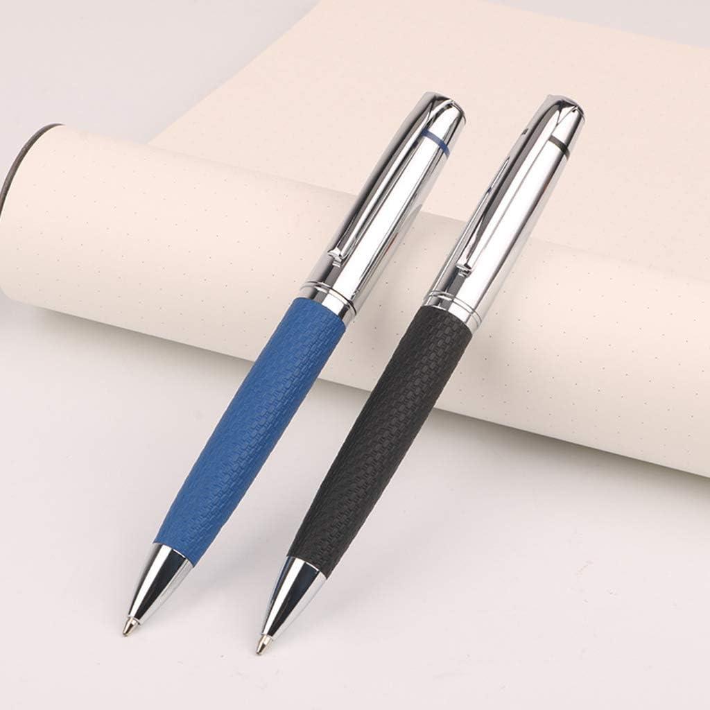 R-WEICHONG Stylo /à bille rotatif en cuir de luxe bleu