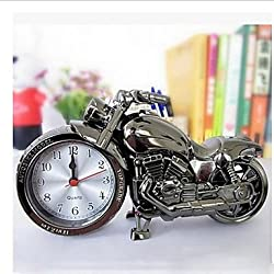 WWQY Quartz clock cool alarm clocks desktop timer motorcycle design clocks , black