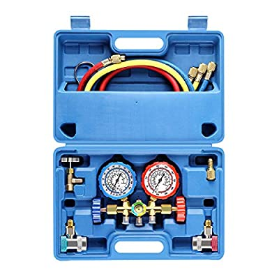 OrionMotorTech 3 Way AC Diagnostic Manifold Gauge Set for Freon Charging, Fits R134A R12 R22 and R502 Refrigerants