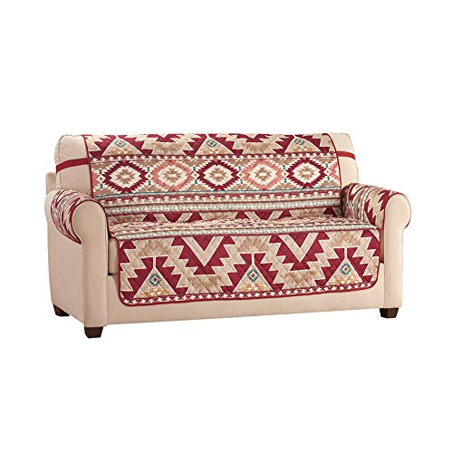 Reversible Aztec Southwest Furniture Cover Protector with Straps - Machine Washable, Loveseat (Strap Furniture Collections)