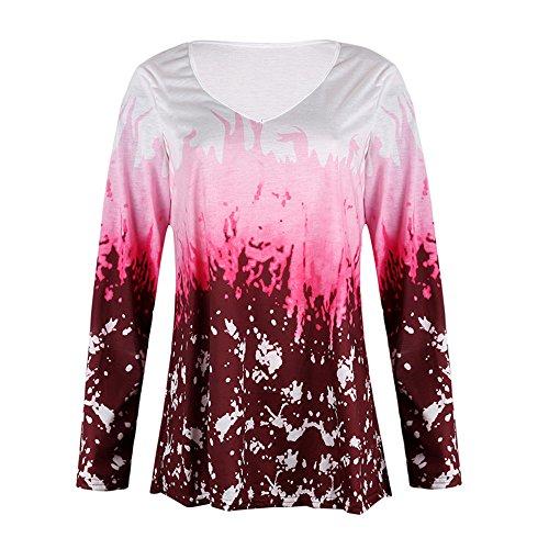 Halloween Clearance ! JSPOYOU Women Long Sleeve Fashion Pumpkin Lace Patchwork Asymmetrical Tops Blouse (XL, Red 03)