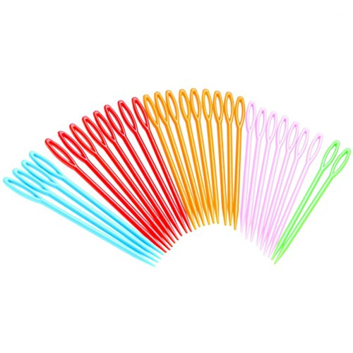 30 Pieces Colorful Plastic Sewing Needles, Color Scissor Sew