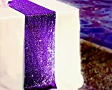 LQIAO Purple Sequin Table Runner-14x108inch Sparkly Shimmer Sequin Fabric, Sequin Table Runner, Sequin Tablecloth, Table Linens Wedding Dining Party Shiny Decoration(18PCS)