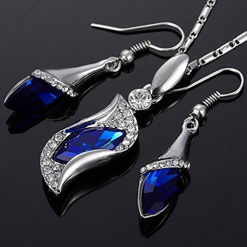 Rizilia Elements collier pendentif Swarovski Crystal Blue Sapphire Boucles d'oreilles Parures