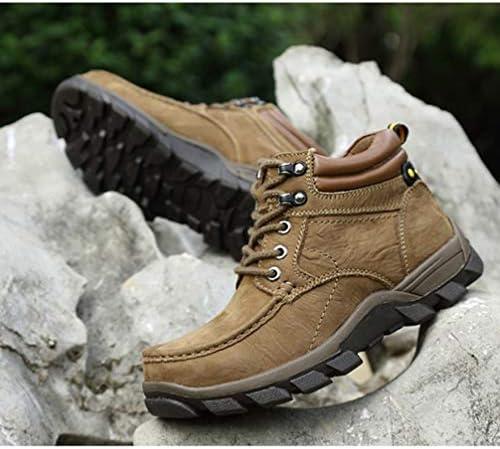 大きいサイズ トレッキングシューズ メンズ 登山靴 ウォーキング 運動靴 ハイキング ハイカット 軽量 滑りにくい アウトドア 防水 防寒 プラスベルベット カーキ 28.5cm