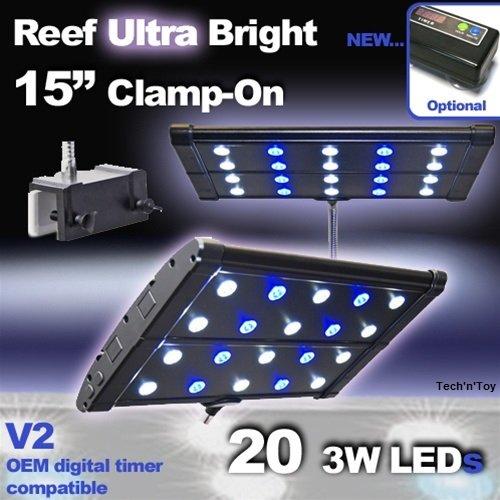 """T5 Quad 72 Lighting Aquarium Light Saltwater Reef 320w: Green Element EVO Quad 15"""" LED Clamp-on Aquarium Light"""
