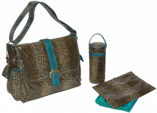 Kalencom 88161226224 Teal Leopard Laminated Buckle Bag