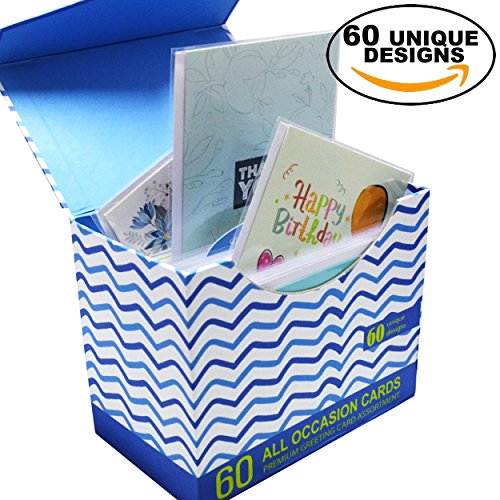 60 Pack Assorted All Occasion Greeting Cards with Magnetic Organizer, BIG 5 x 7 Inches, Happy Birthday, Get Well, Thank You Card Assortment, 60 UNIQUE DESIGNS, Bulk Box Set Variety - All Card For Gift One