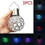 MIYA LTD 3pcs/lot Solar Colorful Lantern Luminous Magic Ball LED Light Controlled Induction Colorful Night Light Party Hang Tree Decor Lights Lawn Lamp for Outdoor Garden, Patio, Pathway and Home