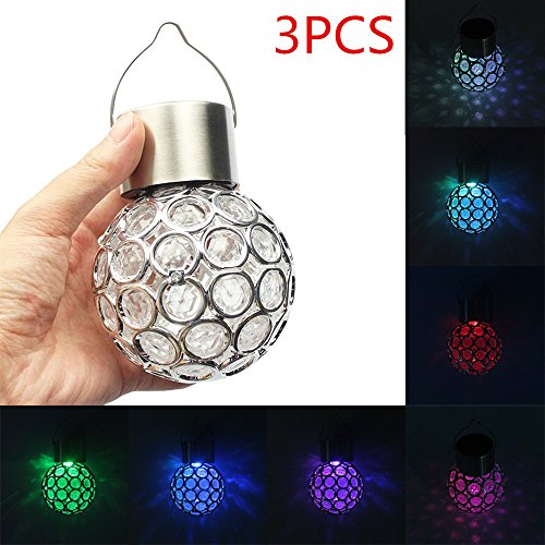 Outdoor Solar Lights, YiMiky Solar Colorful Lantern Magic Ball Night Light LED Light Outdoor Hang Tree Decor Lights for Lawn, Garden, Yard,Patio,Party/Festival Decorative (3 Pack) by YiMiky