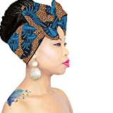 DESIGN 55 Blue-Orange   SMALL HEAD WRAP   African Headband   ROYAL HEAD WRAPS