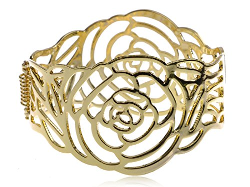 Alilang Golden Tone Beautiful Intricate Cutout Large Rose Design Bangle Fashion (Tone Cut Out Design)