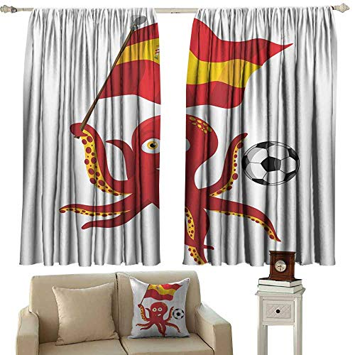Shades Window Treatment Valances Curtains Funny Octopus,Soccer Player Spain Flag European Football Barcelona Madrid Valencia Sports Lover Clip Accent for Male,Red Yellow White 72