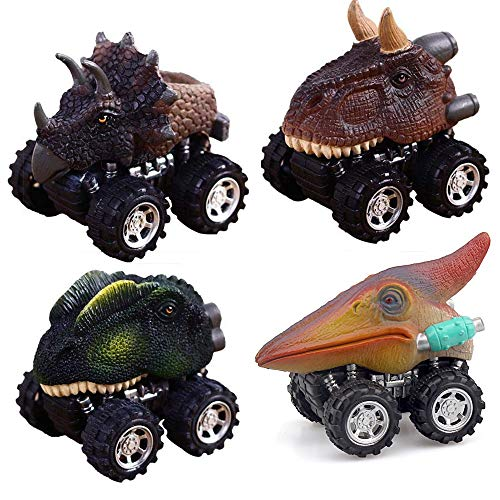 - ZHFUYS Dinosaur Toys, Pull Back Dino Cars with Big Tire for 2 to 5 Year Old Boys Girls Gifts 4 Pack Toy Cars (Dinosaur)