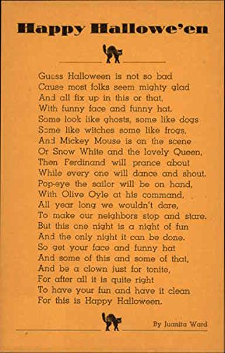 Happy Halloween Poem Original Vintage Postcard]()