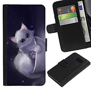iKiki Tech / Cartera Funda Carcasa - Cute Drawing Kitten Pet Sweet Furry - Samsung Galaxy S6 SM-G920