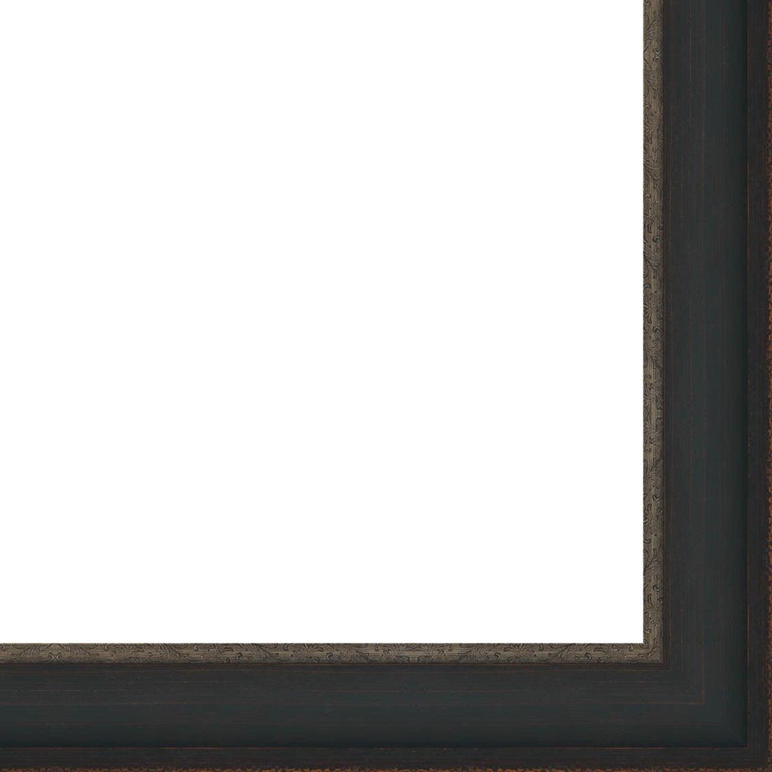Picture Frame Moulding (Wood) 18ft bundle - Distressed/Aged Black Finish - 2.75'' width - 3/8'' rabbet depth