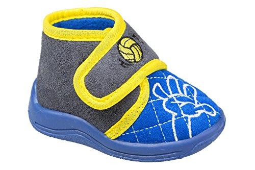 gibra - Zapatillas de estar por casa de tela para niño blau/grau/gelb