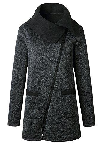 Bluewolfsea Women's Winter Oblique Zipper Coat Long Sleeve Pullover Sweaters Jacket X-Large Deep Grey by Bluewolfsea