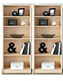 Mainstay` Pack of 2 Natural 5-Shelf Wood Bookcase