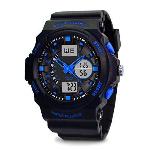 TOPCABIN Swim Chronograph-50m Waterproof Digital-analog Children Sport Watch with Alarm Stopwatch Blue