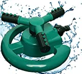 Lawn Sprinklers : Premium Quality Garden Lawn Sprinklers, Best Fun Water Sprinkler System - Gardens & Kids Love Them, by Careful Gardener (green 3 arm rotary)