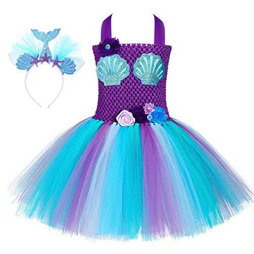 Diy Mermaid Tutu (Soyoekbt Unicorn Tutu Dress for Girls Kids Birthday Party Unicorn Costume with Headband Mermaid)