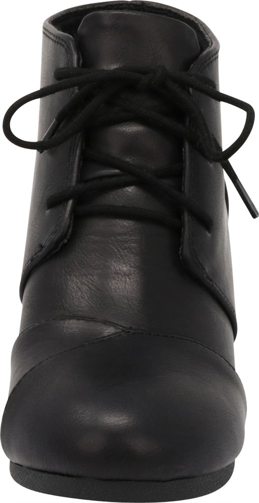 Cambridge Select Women's Lace up Wedge Heel Ankle Bootie (9 B(M) US, Black PU) by Cambridge Select (Image #2)
