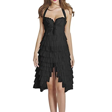 f28d485283 Amazon.com: JJ-GOGO New Fashion Sexy Corset Overbust Mini Skirt Halloween  Fancy Dresses: Clothing