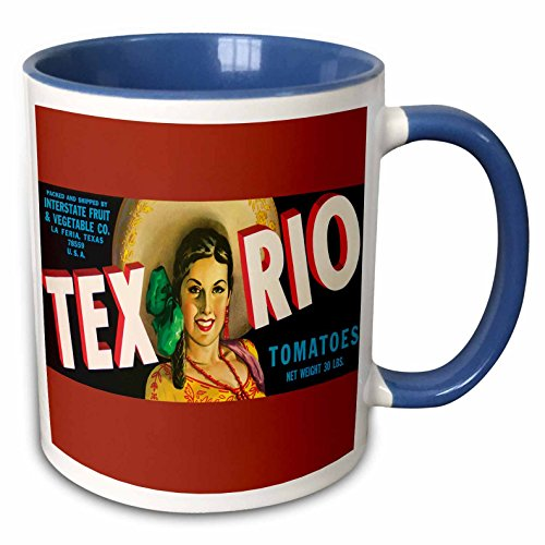 (3dRose BLN Vintage Label and Advertising Art - Tex Rio Tomatoes La Feria Texas with Pretty Girl in Colorful Outfit - 15oz Two-Tone Blue Mug (mug_171117_11))