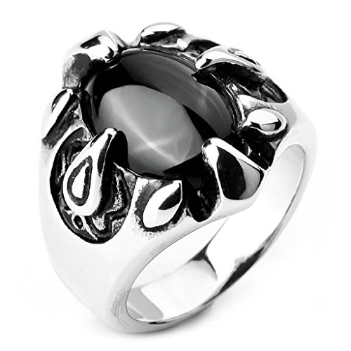 epinkifashion-jewelry-mens-stainless-steel-rings-agate-silver-black-eagle-claw-oval-biker-size-7