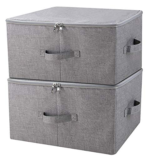 (iwill CREATE PRO Folding Storage Box with Zip Lid and Handles, Storage Basket with Linen Fabric, Closet Shelf Drawers,Dark Gray, 2 pcs)