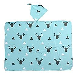 Infant Baby Little Deer Soft Muslin Blanket Bedding Blanket Wrap Swaddle Blanket (60x80 Cm, Blue+deer)