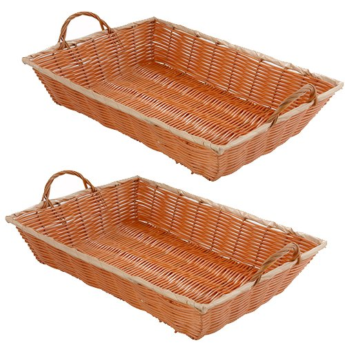 SET OF 2 - 15.75-Inch Commercial Grade Durable Plastic Woven Food Serving Storage Basket Baskets, Oblang Shape, w/Serving Handles Serving Basket
