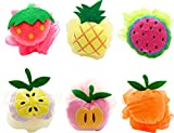 Bath Shower Sponge Pouf Loofahs 6 Packs, Mesh Brush Animal Shower Ball for Kids Random Pattern