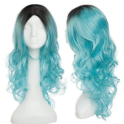 Fashion Long Curly Wavy Ombre Black To Blue Hair Wig Heat Resistant Synthetic Fiber Anime Cosplay Party Costume Natural Full Wig Middle Part Hairline For Women 26