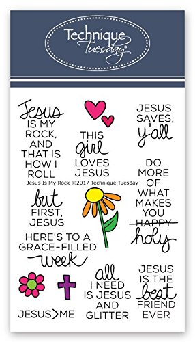Rock Stamp Rubber Art - Jesus is My Rock Clear Stamps | Stamps Christian | Clear Rubber Stamps | Photopolymer Stamps | Card Making Supplies
