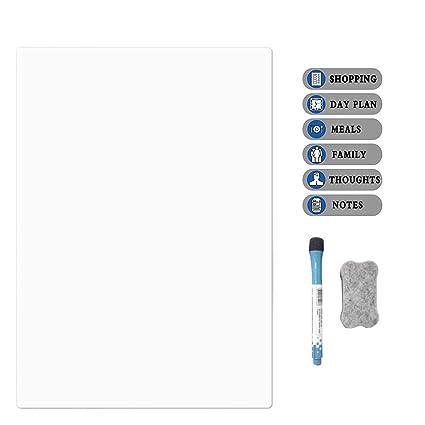 Pizarra blanca para nevera LOBZON A4, pizarra blanca para lista de ...